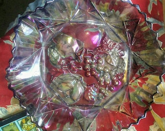 Vintage Federal Glass Pioneer Pattern Carnival Glass Fruit Bowl