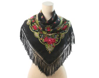 Floral RUSSIAN Wool SCARF 70s Black Large Fringed Red Rose Print Gipsy Shawl Wrap Flowers Babushka Womens Gift Urban Bohemian Wrap