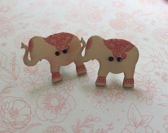 Boho Elephants wooden button post style earrings