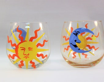 Sun and moon faces - hand painted stemless wine glasses - set of 2 on SALE