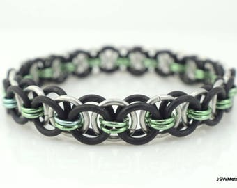 Men's Black and Light Green Stretch Chainmail Bracelet, Women Black and Green Stretch Chainmaille Bracelet, Unisex Jewelry, Cyber Monday