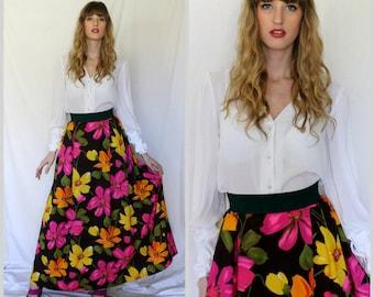 Elegant Pleated Brown Floral Maxi Skirt - 1970s Vintage - Olive Tangerine Lemon Hibiscus - Small