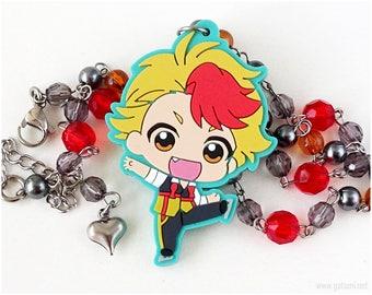 Yuri on Ice Kenjirou Minami Chibi Character Necklace, Gray, Red, Anime Jewelry