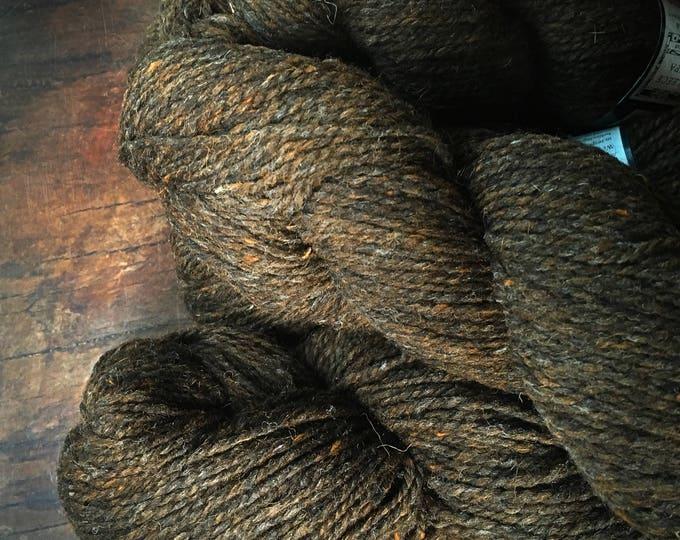 Brown worsted weight yarn - Peace Fleece, Wooly Bear, brown wool, knitting, rug making, crocheting