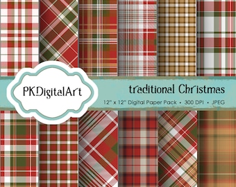 """Christmas Plaid Digital Paper - """"Traditional Christmas""""  Scrapbook Paper Background Crafting Supplies"""
