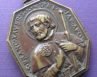 Antique Saint Francis Xavier Apostle Of Japan Religious Medal With Saint Ignatius Of Loyola Circa 1700 Jesuit Pendant SS-169