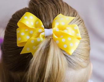 Hair Bow - White on Yellow Polka Dot Pinwheel Bow