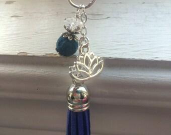 Diffuser zipper pull -diffuser purse dangle -purse charm zipper charm- Lotus flower purse charm / purse dangle  -diffuser purse charm