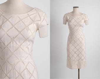 1950s David Goodstein linen + silk organza dress * 5S959
