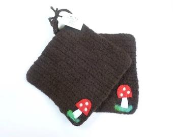 Pot holders felted wool pot holders mushroom design set of two