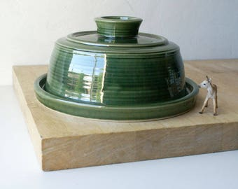 SECONDS SALE - Hand thrown butter dish in forest green british stoneware pottery