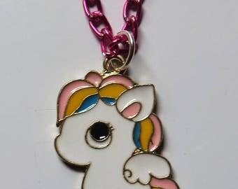 Cute kawaii cartoon pegasus necklace on pink chain
