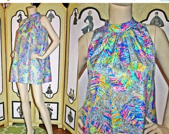 ON SALE Vintage 60's Silky Psychadelic Tent Dress. Small to Medium