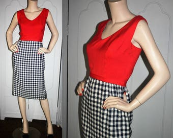 Vintage 50's Red, White and Navy Day Dress. Small to Medium.