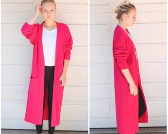 SUMMER SALE 90s Duster, Long Cardigan, Black Duster, Festival Duster Coat, Floor Length, Maxi Sweater, Maxi Blazer, Maxi Cardigan, Large, Pl