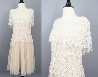 vintage lace and chiffon dress / 80s blush apricot and ivory draped shawl dress / ethereal floaty occasion dress / small