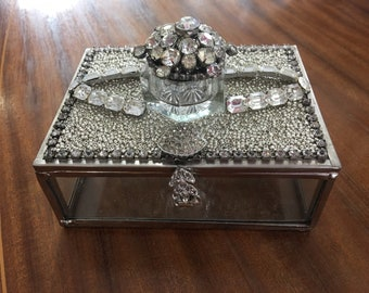 OOAK Glass Jewelry Box with ring box Made with Vintage Rhinestone Jewelry by Cindy Bussiere