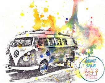 Retro Vintage Art Volkswagen Vw Van Bus Watercolor Painting - 13 x 19 in. Vw Bus Art print