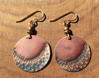 Waning moon copper textured earrings