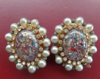 Vintage Marbella Faux Fire Opal Clip Earrings