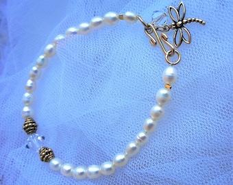 Pearl Bracelet White dragonfly FLUTTER-Fresh water pearl,bridal bracelet,bride gift,rolled gold,Boho wedding
