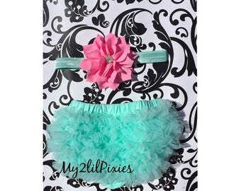 SALE Chiffon Ruffle Bum Baby Bloomer and Headband Set - Mint and Pink. Great photo prop. Newborn photos , cake smash set- Choose your Size
