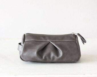 Grey accessory bag, cosmetic case makeup bag pencil case zipper pouch travel case toiletry bag - Estia Bag