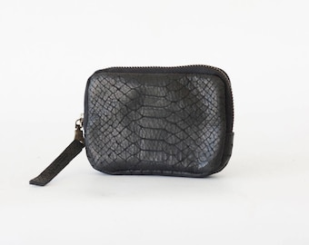 Zipper case black snakeskin leather, coin purse zip phone case money bag credit card purse zip purse - The Myrto Zipper pouch