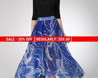 blue skirt, chiffon skirt, printed skirt, high waisted skirt, boho skirt, maxi skirt, elastic waist skirt, handmade skirt, plus size (1298)