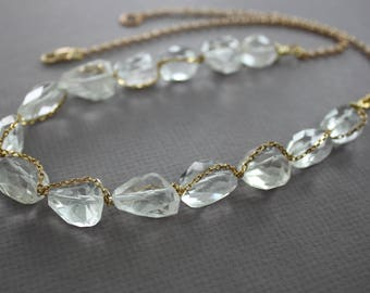 WHILE SUPPLIES LAST - Golden tone beaded rock crystal necklace, Beaded necklace, Clear crystal necklace, Statement necklace, Long necklace