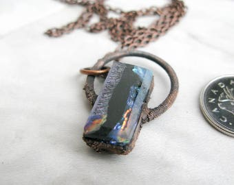 Fused Glass Pendant Electroformed Copper Necklace Goddess necklace gothic Jewelry Large Glass Pendant Statement necklace OOAK