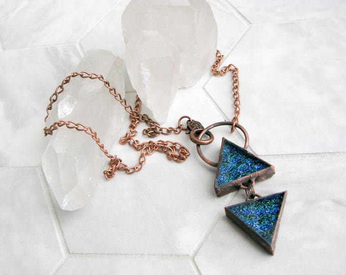Large Glass Pendant Statement necklace double triangle Electroformed Copper Necklace Goddess necklace Fused Glass Pendant Modern Jewelry