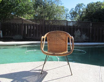 Mid Century Rattan  and Wicker on Iron Base Chair