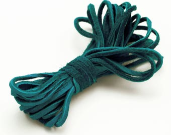 2mm Turquoise Deer Hide Leather Cord - By The Foot