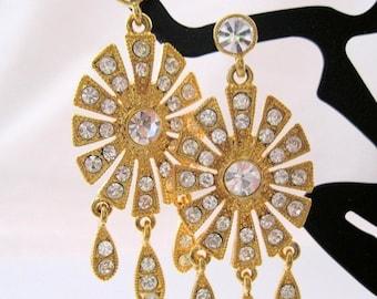 XMAS in JULY SALE Vintage Rhinestone Chandelier Earrings Signed P.A. cn Pierced Estate Costume Jewelry Jewellery