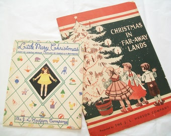2 Hudson's Department Store Christmas Books, 1940s or 1930s, Detroit, Michigan