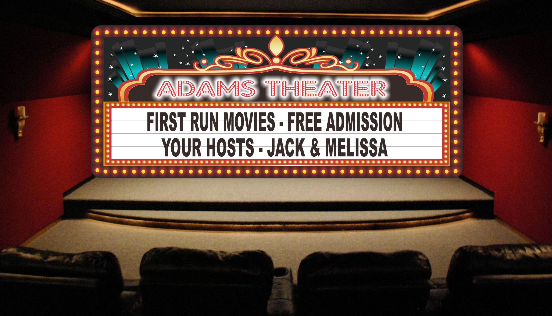 custom home theater sign with movie marquee lights movie