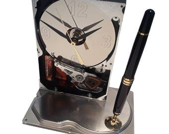 Pen Holder Hard Drive Clock with Etched Numbers on Platter! Cool Office Gift, Teacher Gift, Techie Gift, Business Award.