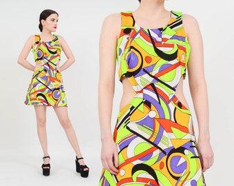 Vintage 60s 70s CUT OUT Dress | Neon Geometric Dress | Mod Mini Dress | 1960s Go Go Twiggy | Bare Midriff Dress | Medium M