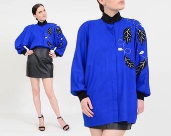 Vintage 80s Electric Blue Silk Button Up Blouse   Beaded Leaf Appliqué   Dolman Long Sleeve Shirt   Raw Silk Oversize Top   Medium M