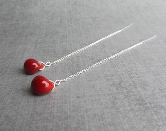 Blood Red Chain Earrings, Red Threader Earrings Red Lampwork Threaders, Sterling Silver Threaders, Long Chain Dangles, Glass Drop Threaders