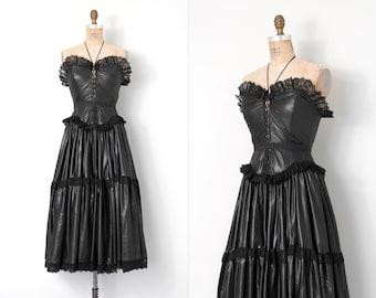 vintage 1980s betsey johnson dress | 80s lace up corset dress | punk label (medium m)