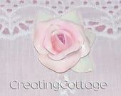 Shabby Chic Single Pink Rose Cabochon Furniture Applique or Brooch  - Sweet and Handmade