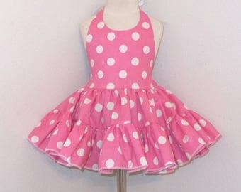 Pink Polka Dot Twirly Sundress Square Dance Halter Dress Infant Baby Toddler Girl 3-6M 6-12M 12-18M 18-24M 2T 3T 4T 5 6 7 8 10 12 14 16