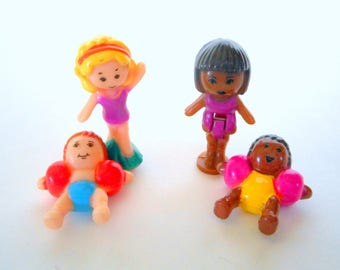 Vintage Polly Pocket Splash 'n Slide Water Park Figures Dolls - Complete Set of Four - Bluebird Toys 1995