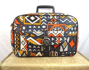 Vintage 1960s Tribal Tiki Mod Mini Floral Suitcase