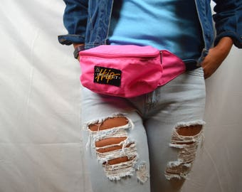 Vintage 80s 90s Hip Pocket Neon Pink Fanny Pack