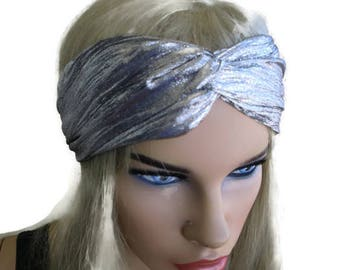 Metallic silver turban-Adult turban headband in silver-Many colors to choose from