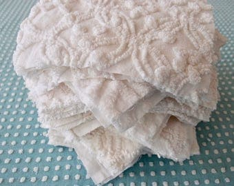 "Vintage Chenille Fabric Quilt Squares - 50 - EIGHT "" squares, Just White, - 500-361"