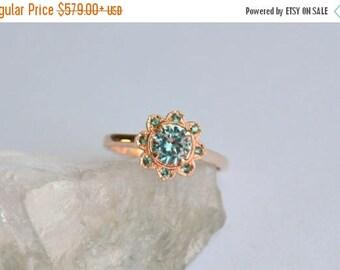 SALE Rose Gold Ring, Garnet Ring, Zircon Rose Gold Ring, Rose Gold Sunflower Ring, Color Change Garnet, Color Change Garnet, Zircon Gemstone
